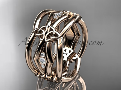 14kt rose gold diamond celtic trinity knot wedding band,  triquetra ring, engagement  ring CT7521B
