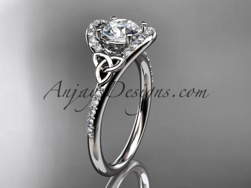 Irish Celtic Bridal Rings White Gold Engagement Ring CT7317