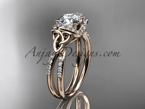 "14kt rose gold diamond celtic trinity knot wedding ring, engagement ring with a ""Forever One"" Moissanite center stone CT7155"