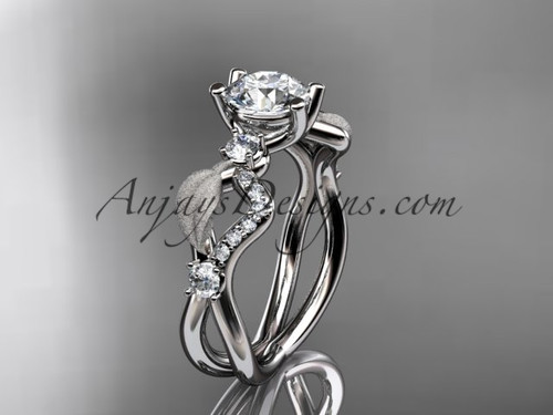 platinum diamond leaf and vine wedding ring, engagement ring ADLR68