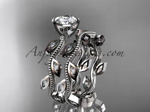 Leaf and Vine Platinum Diamond Bridal Ring Set ADLR213S