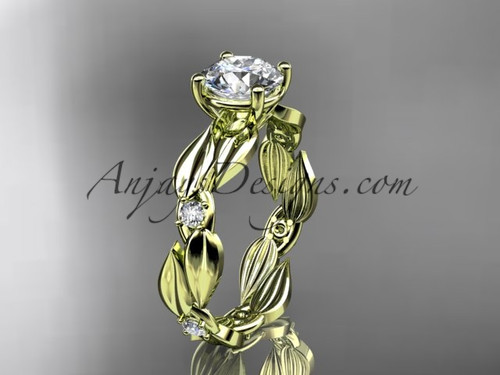 Moissanite Ring - 14kt Yellow Gold Leaf Bridal Ring ADLR58