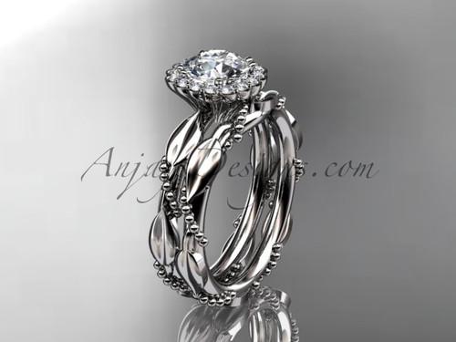 "14kt white gold diamond leaf and vine wedding set, engagement set with a ""Forever One"" Moissanite center stone ADLR337"