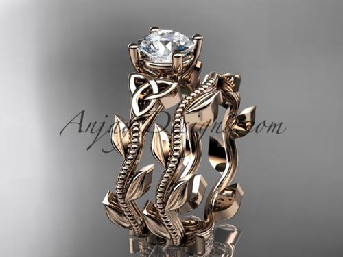 Welsh Knot Ring, Rose Gold Celtic Bridal Ring Set CT7238S