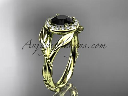 Yellow Gold Black Diamond Wedding Ring For Women ADLR328