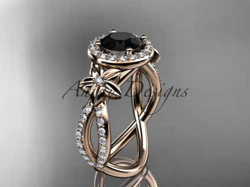 Black Diamond Engagement Ring, Rose Gold Flower Ring ADLR374