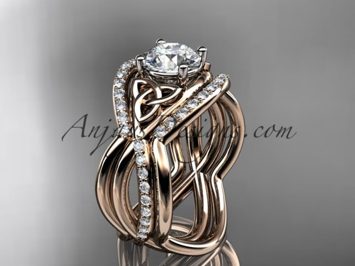 Irish Bridal Ring Set, Rose Gold Double Band Ring CT790S