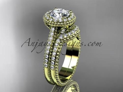 """14kt yellow gold diamond floral wedding set, engagement ring with a """"Forever One"""" Moissanite center stone ADLR101S"""