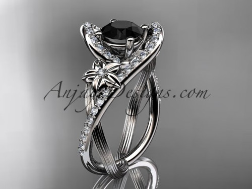 platinum leaf and flower diamond unique engagement ring, wedding ring with a Black Diamond center stone ADLR369