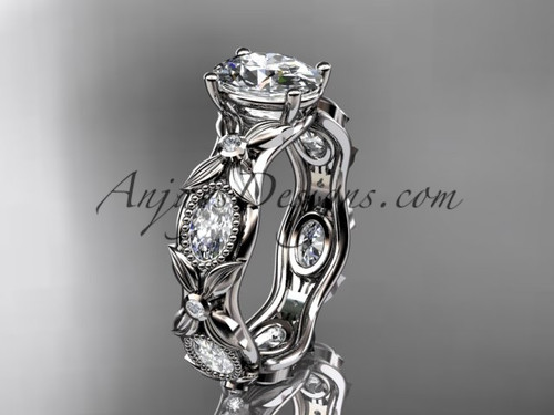"14kt white gold  diamond leaf and vine wedding ring, engagement  ring with a ""Forever One"" Moissanite center stone ADLR152"