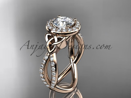 """14kt rose gold diamond celtic trinity ring,  triquetra ring, Irish engagement ring with a """"Forever One"""" Moissanite center stone CT7374"""