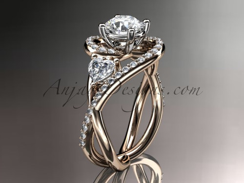 Unique Marriage Ring, Rose Gold Ring with Moissanite ADLR320