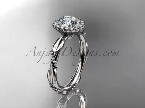 14kt white gold diamond leaf and vine wedding ring, engagement ring ADLR337