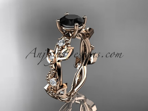 14kt rose gold diamond leaf and vine wedding ring, engagement ring with  Black Diamond center stone ADLR59