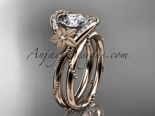 Flower Inspired Wedding Rings, Rose Gold Bridal set ADLR166S