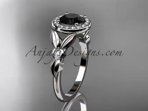 platinum diamond floral wedding ring, engagement ring with a Black Diamond center stone ADLR129