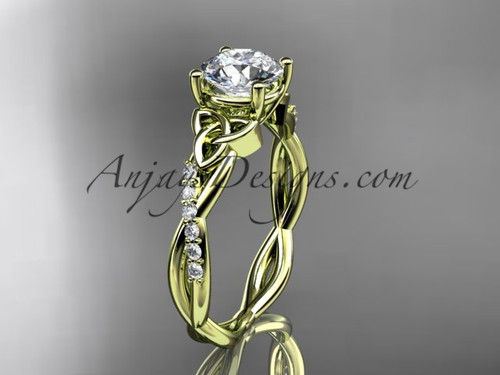 Celtic Engagement Ring, Yellow Gold Moissanite Ring CT7388