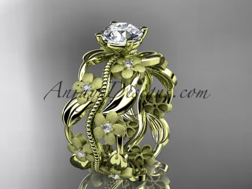 """14kt yellow gold diamond leaf and vine wedding ring, engagement ring with a """"Forever One"""" Moissanite center stone ADLR188"""