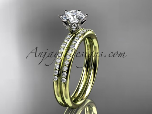 """14kt yellow gold diamond unique engagement set, wedding ring with a """"Forever One"""" Moissanite center stone ADER145S"""