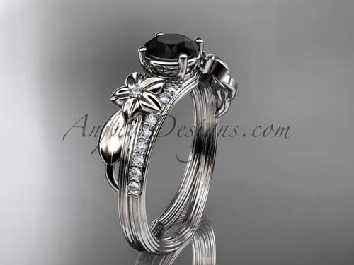 Platinum diamond leaf and vine wedding ring, engagement ring with a Black Diamond center stone ADLR331