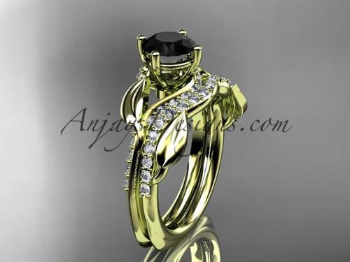Unique 14k yellow gold diamond  leaf wedding ring, engagement set with a Black Diamond center stone ADLR225S