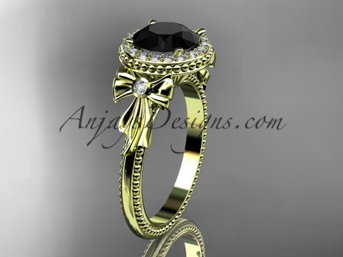 14kt yellow gold diamond unique engagement ring, wedding ring with a Black Diamond center stone ADER157
