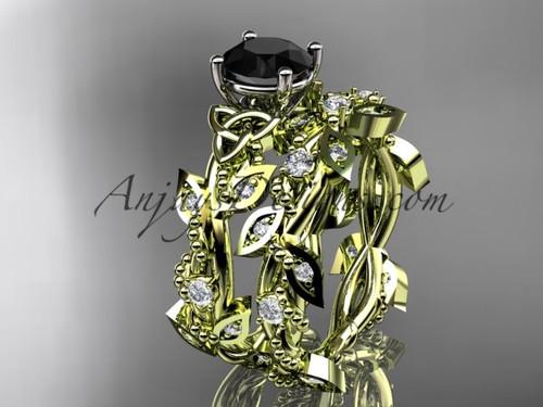 14kt Yellow Gold Black Diamond Leaf Wedding Ring Set CT759S
