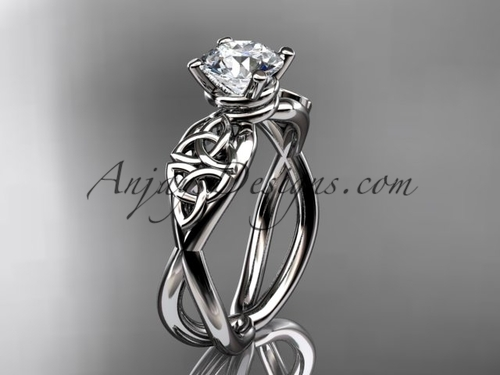 Trinity Celtic Engagement Ring - 14kt White Gold Ring CT770