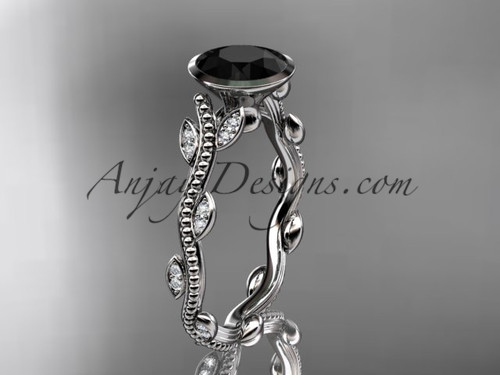 14k white gold diamond leaf and vine wedding ring, engagement ring with  Black Diamond center stone ADLR33