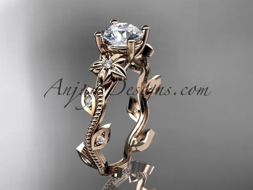 Rose Gold Leaf & Flower Diamond Ring For Women ADLR151