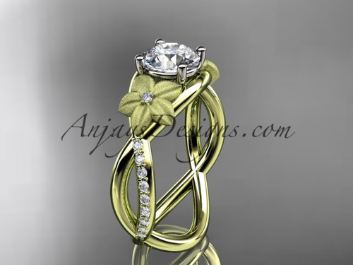 Moissanite Yellow Gold Ring, Flower Engagement Ring ADLR90