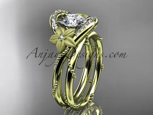 Flower Inspired Wedding Ring Yellow Gold Bridal set ADLR166S