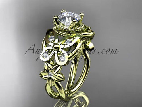 14kt yellow gold diamond floral, butterfly wedding ring, engagement ring ADLR136