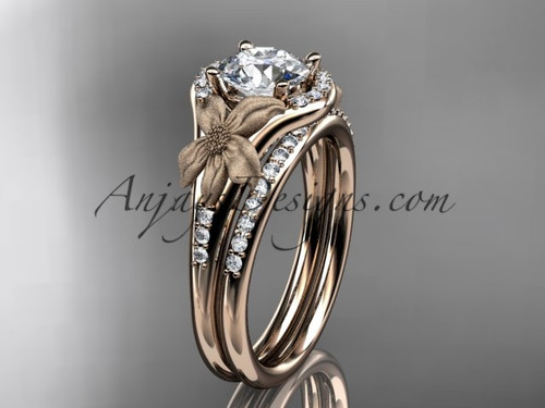"14kt rose gold diamond leaf and vine wedding ring, engagement set with a ""Forever One"" Moissanite center stone ADLR91S"