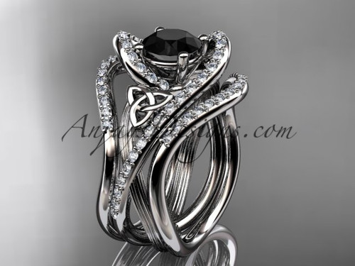 platinum diamond celtic trinity knot wedding ring, engagement ring with a Black Diamond center stone and double matching band  CT7369S