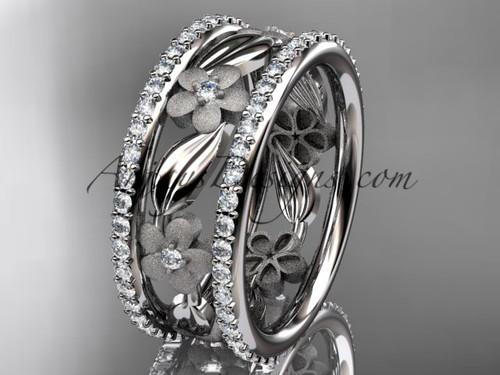 Platinum diamond flower wedding band, engagement ring ADLR233B