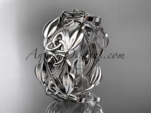 White Gold Wedding Band Celtic Trinity Knot Ring CT7259B