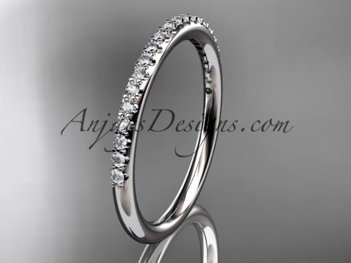 Stacking Rings, White Gold Diamond Engagement Ring ADER103B