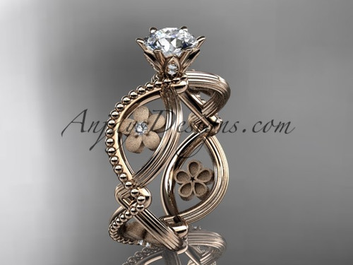 "14kt rose gold diamond floral wedding ring, engagement ring with a ""Forever One"" Moissanite center stone ADLR192"
