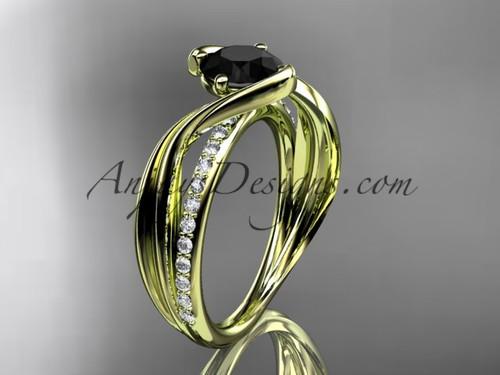 Yellow Gold Black Diamond Engagement Ring, Leaf Ring ADLR78