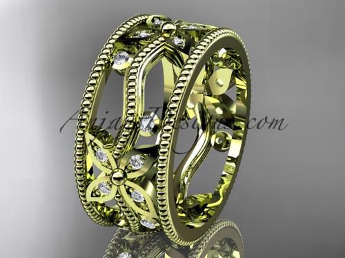 14kt yellow gold diamond leaf and vine wedding ring, engagement ring, wedding band ADLR9B