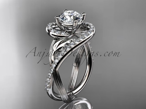 """Unique 14kt white gold diamond leaf and vine wedding ring, engagement ring with a """"Forever One"""" Moissanite center stone ADLR222"""