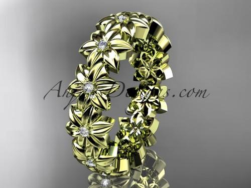 14kt yellow gold diamond flower wedding ring, engagement ring, wedding band ADLR57B