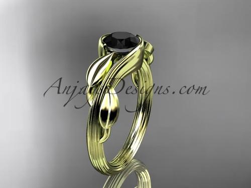 Black Diamond Leaf Engagement Ring 14kt Yellow Gold ADLR273