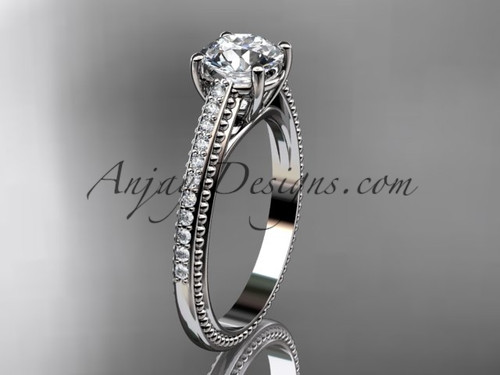 """platinum diamond unique engagement ring, wedding ring with  """"Forever One"""" Moissanite center stone ADER87"""