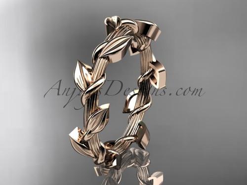 Unique Leaf and Vine Wedding Ring 14kt Rose Gold ADLR248G