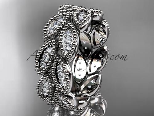 platinum diamond leaf wedding ring, engagement ring, wedding band, nature inspired jewelry  ADLR54B