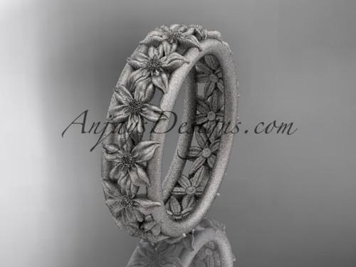 14kt white gold flower wedding ring, engagement ring, wedding band ADLR163G