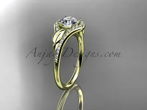 14kt Yellow Gold Modern Diamond Proposal Ring, Leaf Wedding Ring ADLR3