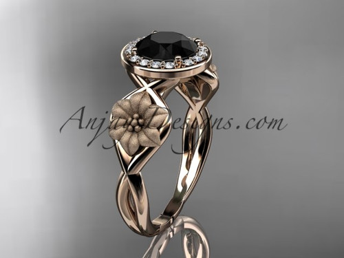 Unique 14kt rose gold diamond flower wedding ring, engagement ring with a Black Diamond center stone ADLR219